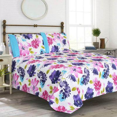 Premium Quality Poly Cotton King Size Bedsheet Set 3 Pcs-Multi Floral Design