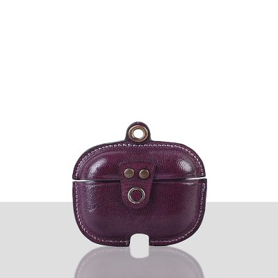Stefano Veg Tanned Leather Luxury Protective Cover Case for Apple Airpods Pro 3  Purple