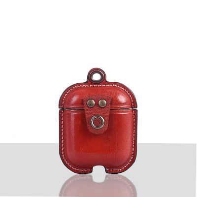 Mario Veg Tanned Leather Luxury Protective Cover Case for Apple Airpods 1 & 2  Red