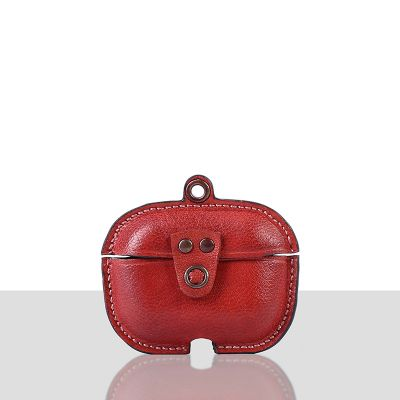 Stefano Veg Tanned Leather Luxury Protective Cover Case for Apple Airpods Pro 3  Red