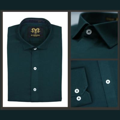 Royal Crystal Green Chambray Cotton Slim Fit Formal Shirt For Men