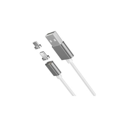 Rubian 2 In 1 Manetically Clip-On Data/ Charging Cable - Silver