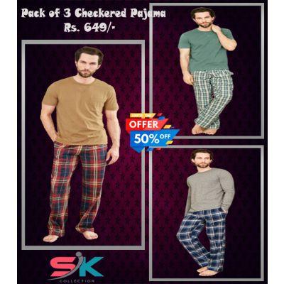 Pack of 3  Checkered Pajama