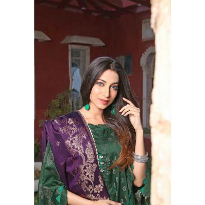 Green Lilly Viscose Suit  Shirt Shalwar Dupatta Ly03