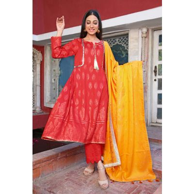 Shirt Shalwar Dupatta Red Lilly Ly02 Viscose Suit