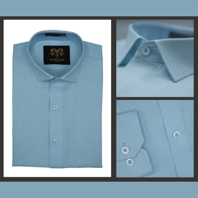 Sky Blue Chambray Cotton Slim Fit Formal Shirt For Men
