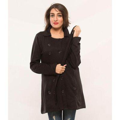 The-Ajmery Black Fleece Dual Pocket Coat for Women - BLKDPC-98 Multicolor