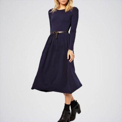 The-Ajmery Black Linen Slim Waist Plain Spring Work Dress for Women Multicolour