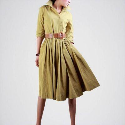 The-Ajmery Green Linen Dress for Women Multicolour