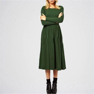 The-Ajmery Green Linen Plain Slim Waist Dress Multicolour