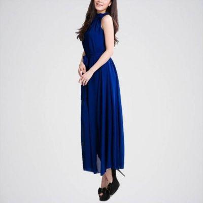 The-Ajmery Navy Blue Linen Dress E4H-902B Multicolour