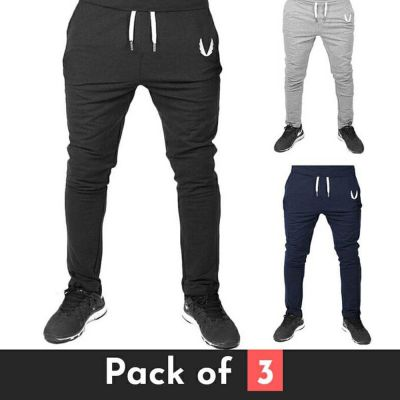 The-Ajmery Pack of 3 Slim Fit Gym Trousers For Men. SD-477 Multicolor