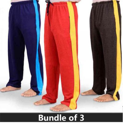 The-Ajmery Pack Of 3 Stripe Nightwear Trousers For Mens . SNT-107 Multicolor