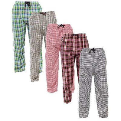 The-Ajmery Pack Of 4 Checkered Nightwear Trousers For Men. SD-351 Multicolor