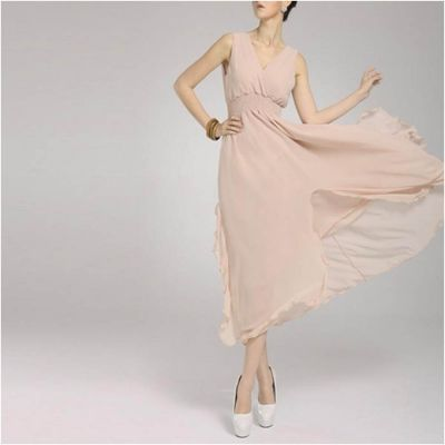 The-Ajmery Pink Chiffon Chic Ball Gown For Women Multicolour