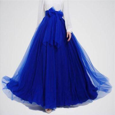 The-Ajmery Royal Blue Long Maxi Skirt. E4h-Rbs027 Multicolour