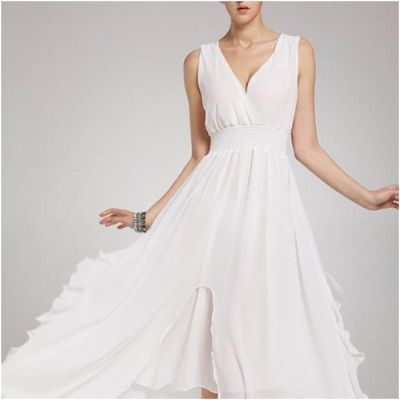 The-Ajmery White Chiffon Chic Ball Gown for Women Multicolour