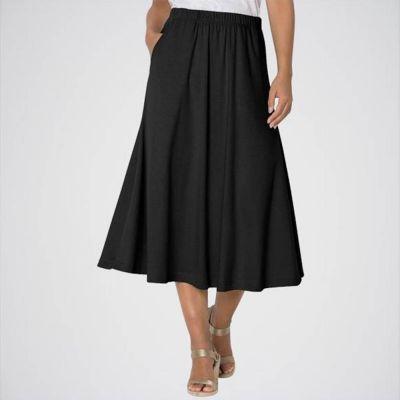 The-Ajmery Women's Black Knit A-Line Skirt. E4h-Alnblk Multicolour