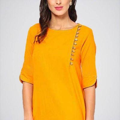 The-Ajmery Women's Mustard Cotton Dress Multicolour