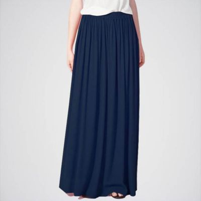 The-Ajmery Women's Navy Blue Slim Vintage Long Maxi Skirt. E4h-11014 Multicolour