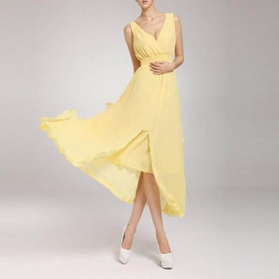 The-Ajmery Yellow Chiffon Chic Ball Gown For Women Multicolour