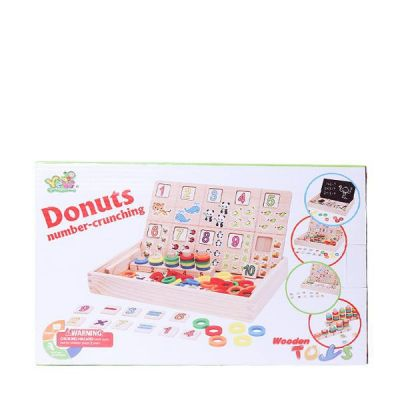 Wooden Learning Donuts Number With Crunching Box