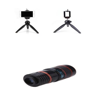 Rubian High Quality 8X - Universal Mobile Camera Lens With Yunteng Tripod Stand - Black And Red