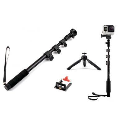 Pack of 2 - YT1288 Bluetooth Selfie Stick 4 Feet + YT228 Mini Tripod for Digital Camera / Cell Phone
